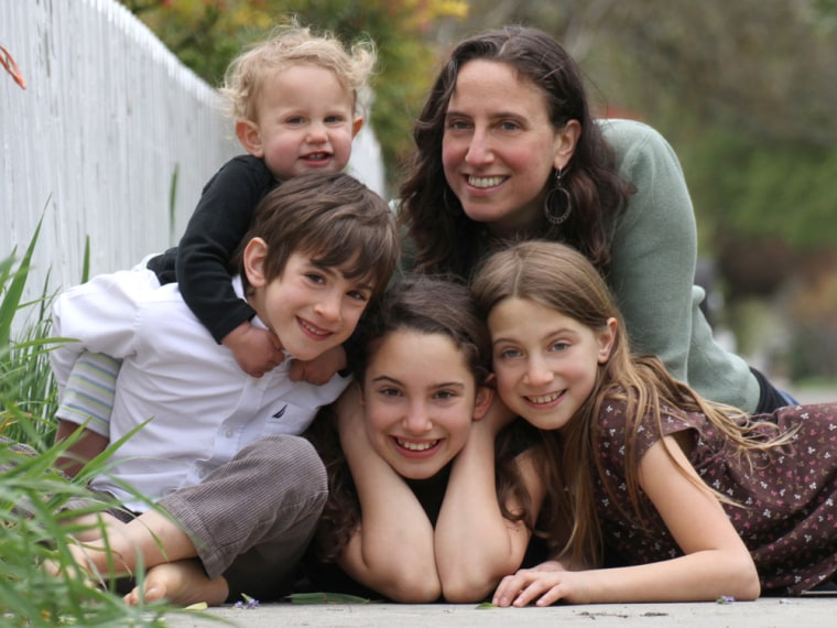 Jennifer Margulis (shown with Leone, 17 months; Etani, age 6; Hesperus, 10; and Athena, 8) delivered her oldest child in a hospital and the other three at home.