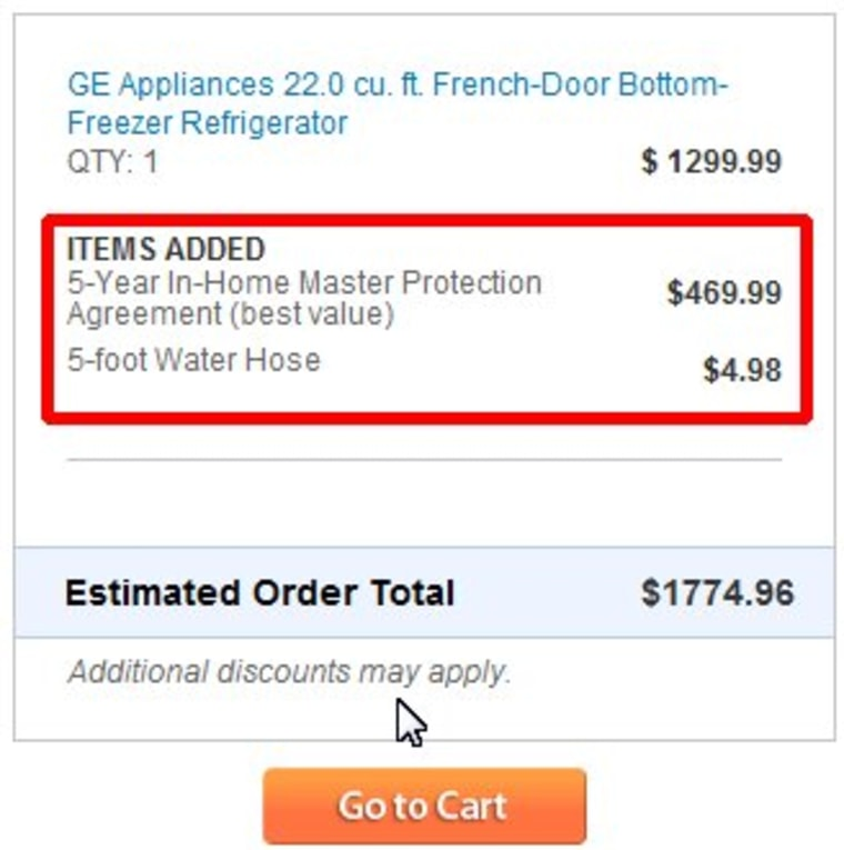 If you bought a fridge from Sears.com, you may have been hit with a $469.99 protection fee without you knowing it.