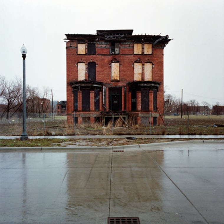 """An image from the series of \""""100 Abandoned Houses\"""" in Detroit."""