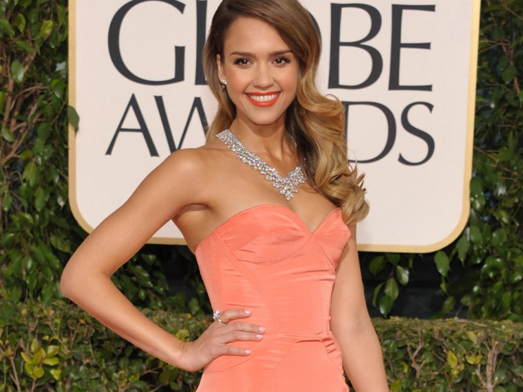 Actress Jessica Alba arrives at the 70th Annual Golden Globe Awards at the Beverly Hilton Hotel on Sunday Jan. 13, 2013, in Beverly Hills, Calif. (Pho...