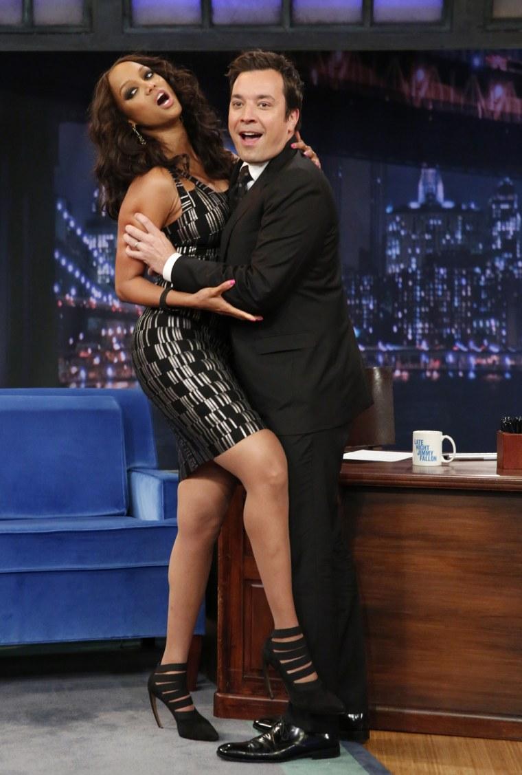 Image: Tyra Banks and Jimmy Fallon.