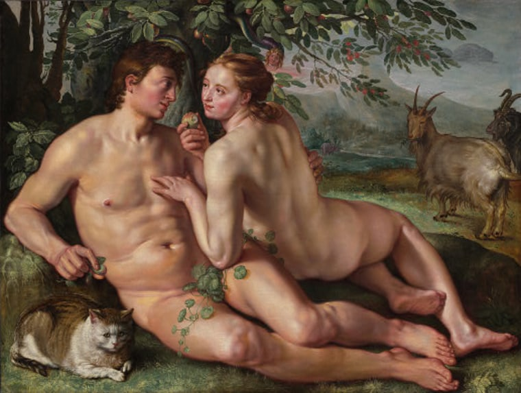 The Fall Of Man By Hendrik Goltzius Depicts Adam And Eve A New Dna Analysis Finds That Almost Every Man Alive Can Trace His Origins To One Man Who Lived