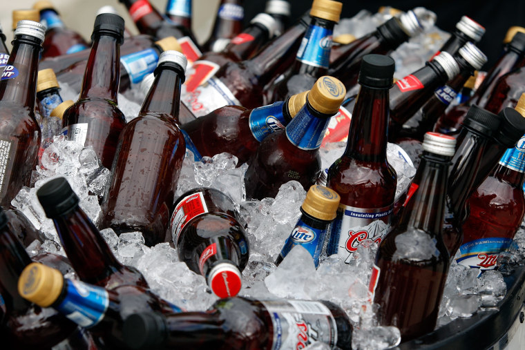 TAMPA, FL - FEBRUARY 01: A detailed picture of bottles of beer before Super Bowl XLIII between the Arizona Cardinals and the Pittsburgh Steelers on F...
