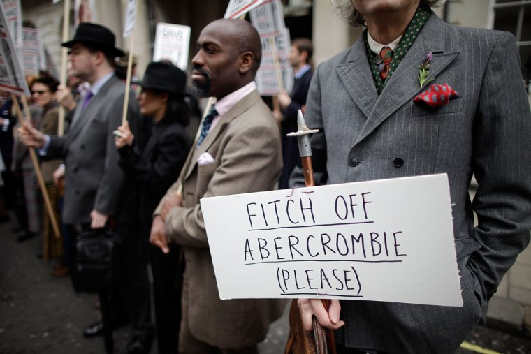 Well dressed demonstrators, organised by the satirical gentlemans publication Chap Magazine, protest on St George's day outside the Abercrombie & Fitc...