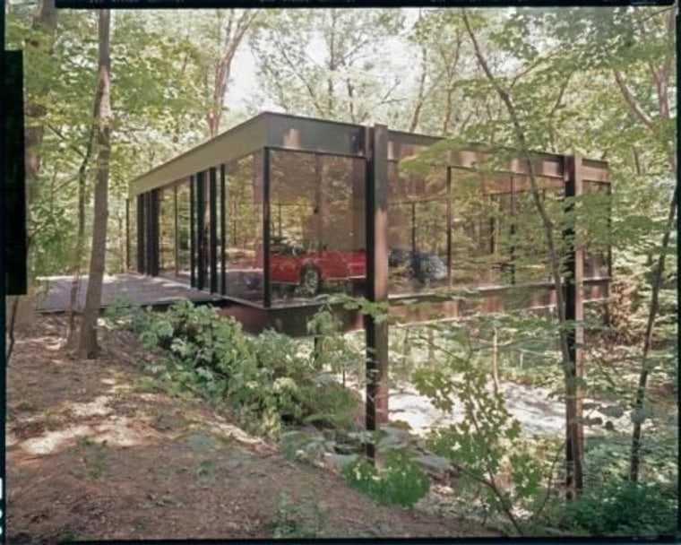 Remember this house? Cameron Frye, Ferris Bueller's best friend in the cult classic Ferris Bueller's Day Off, kicks a car, which then crashes through those windows.