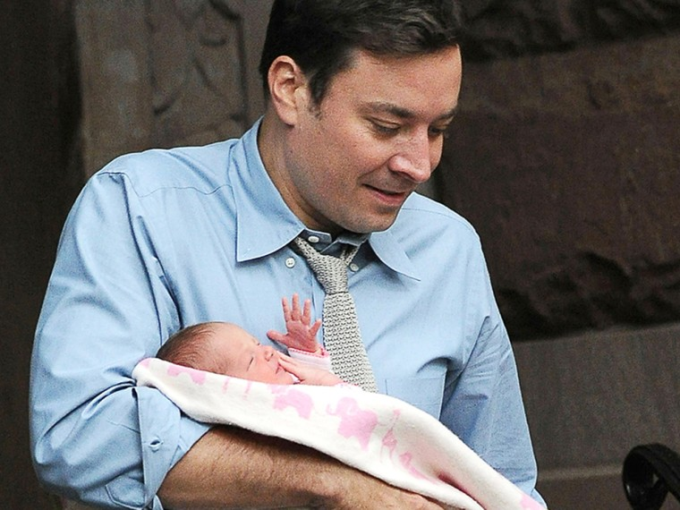 Jimmy Fallon departs his Manhattan residence with his adorable baby girl Winnie Fallon.