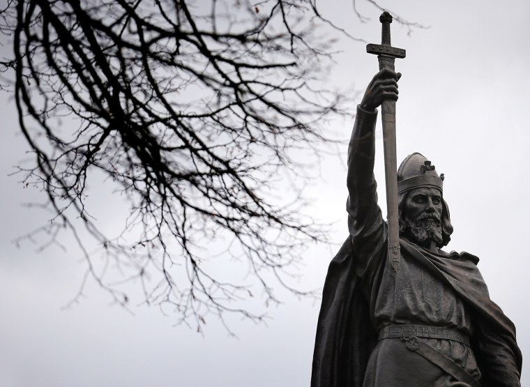 WINCHESTER, ENGLAND - FEBRUARY 06: A general view of a statue of Alfred The Great on February 6, 2013 in Winchester, England. King Alfred lived from ...