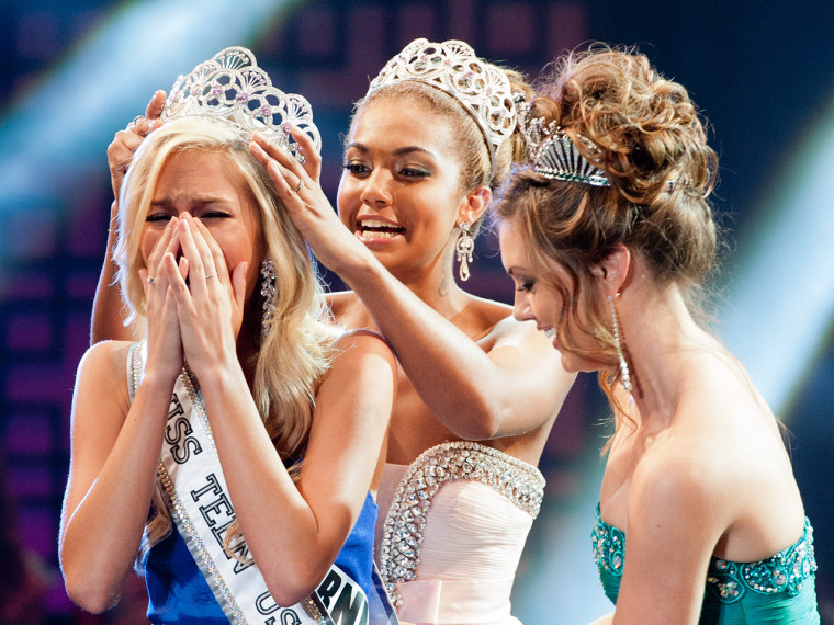 Miss California Teen USA, Cassidy Wolf, is crowned Miss Teen USA 2013 by last year's winner, Logan West and Miss USA Erin Brady. Wolf hopes to use her platform as Miss Teen USA to speak out against cyber crime after being victimized by it earlier this year.
