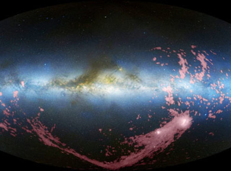 This all-sky, combined radio and visible-light image shows the Magellanic Stream in pink.