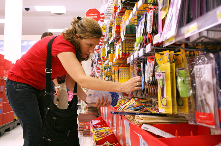 DALY CITY, CA - AUGUST 13: School teacher Liza Gleason shops for back to school supplies at a Target store August 13, 2008 in Daly City, California. ...