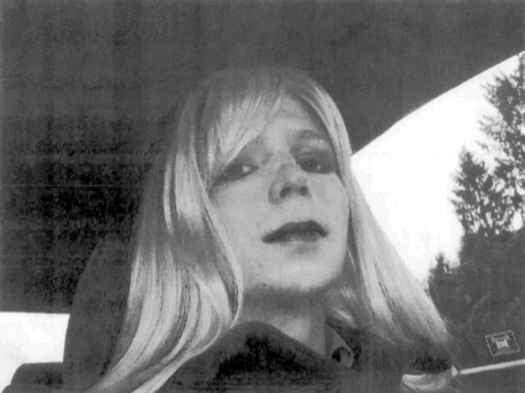 In this undated photo provided by the U.S. Army, Pfc. Bradley Manning poses for a photo wearing a wig and lipstick. Manningemailed his militarythera...