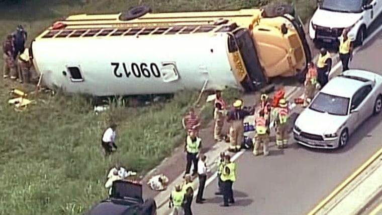 20 injured as bus carrying school kids overturns on Kansas highway ramp