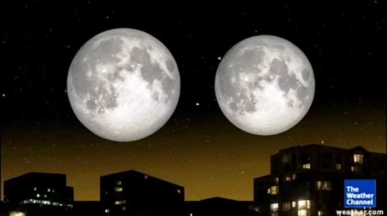 This graphic compares the size of the moon when it's closest to Earth, during a
