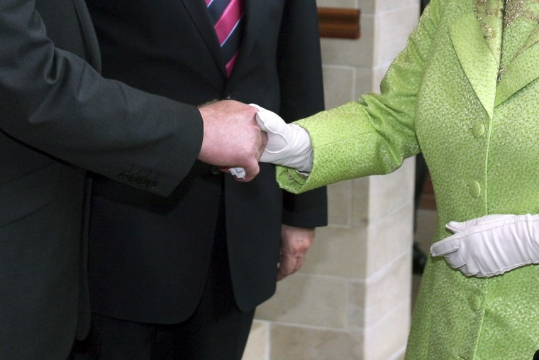 Her Majesty Queen Elizabeth getting away with what you probably shouldn't. Getring the handshake right counts in your career.