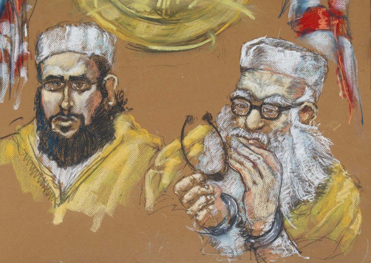 Hafiz Muhammed Sher Ali Khan, 76, right, and one of his sons, 24-year-old Izhar Khan, left, are shown in this courtroom drawing made in 2011 in federal court in Miami.