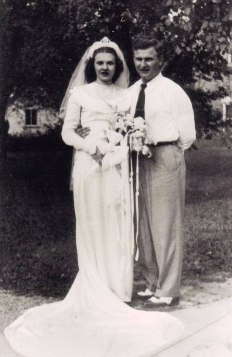 Harold and Ruth Knapke pose for a photo on their wedding day in St. Henry, Ohio, on Aug. 20, 1947.