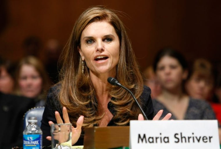 Maria Shriver testifies at a hearing held to provide an update from the Alzheimer's Study Group on Capitol Hill in Washington in 2009.
