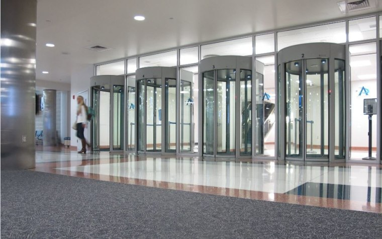 Glass Exit Portals Security To Leave The Airport