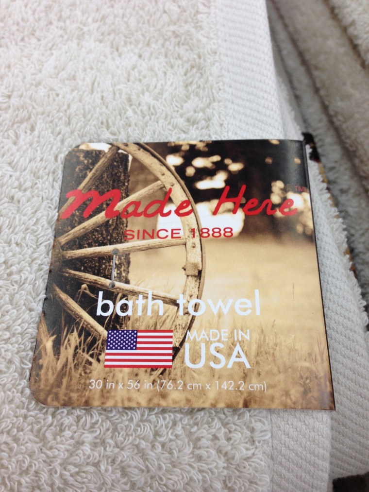 The Made Here bath towel, made in the United States, is sold at Wal-Mart.