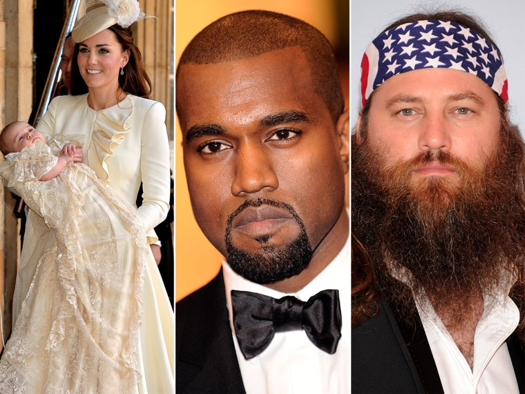 From the left, Kate Duchess, Prince George, Kayne West, and Willie Robertson