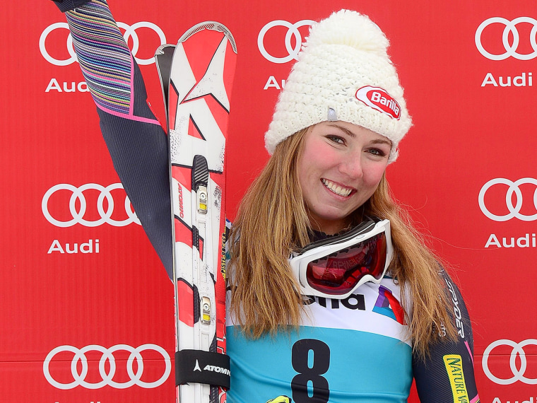 US Mikaela Shiffrin celebrates after placing second in the women's giant slalom at the FIS Ski World Cup in Beaver Creek, Colorado, on December 1, 201...