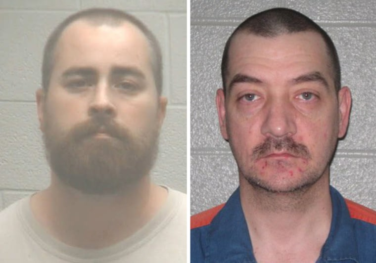 Jason Ryan, left, was arrested Tuesday in the 1996 murder of Geraldine Montgomery of Kalkaska, Mich. Jamie Lee Peterson, right, is serving a life sentence after being convicted of killing Montgomery.
