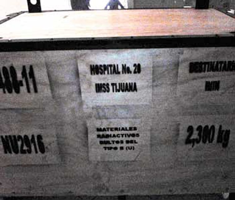 The sealed box containing the radiotherapy equipment.