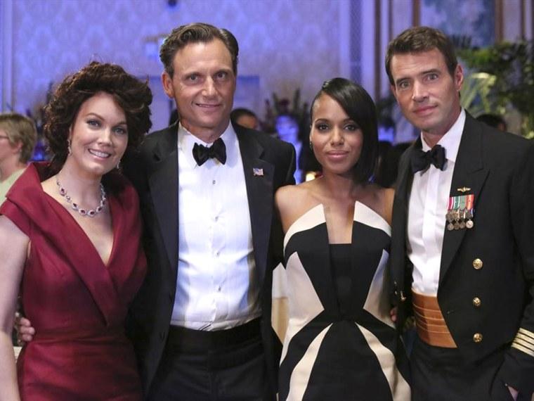 """Bellamy Young, Tony Goldwyn, Kerry Washington and Scott Foley star in \""""Scandal.\"""""""