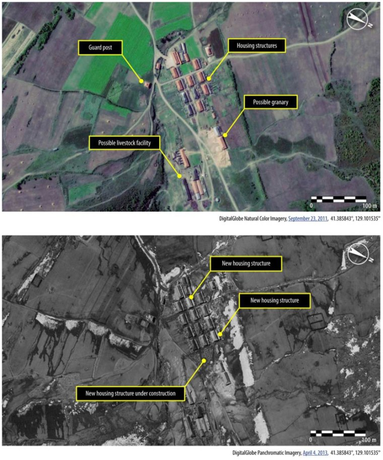 According to Amnesty International these images, from 2011 and 2013 respectively, show a village in kwanliso 16 which has been recently expanded.