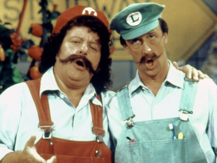 SUPER MARIO BROS. SUPER SHOW, (from left): Captain Lou Albano, Danny Wells, 1989. © DiC Enterprises / Courtesy: Everett Collection