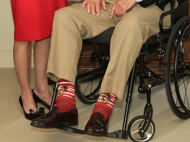 Bush's socks are the latest distinctive pair he has worn, including Superman socks for his 89th birthday and red, white and blue socks at an event for the Houston Texans.