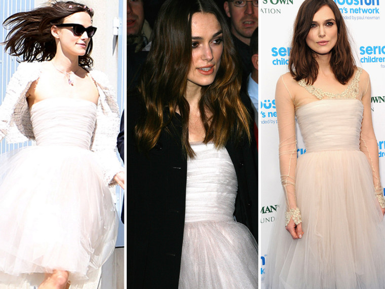 Image: Keira Knightley in wedding dress on three occasions