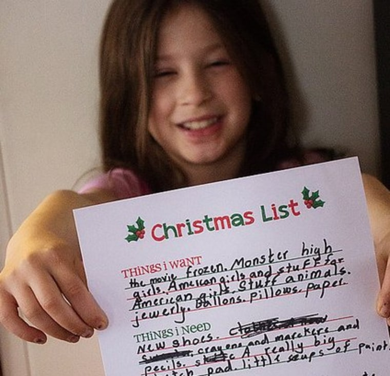 Sophia, 7, and her holiday wish list.