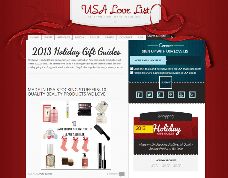 Products made in the USA can have special appeal to holiday shoppers who also want to support local producers. Blogger Sarah Wagner has created USA Love List featuring such items.
