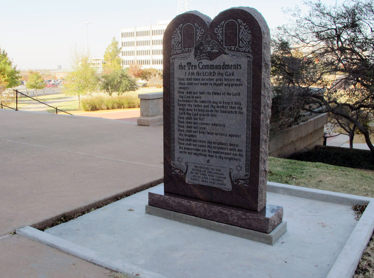 A Ten Commandments monument erected outside the Oklahoma state Capitol is shown in November 2012.