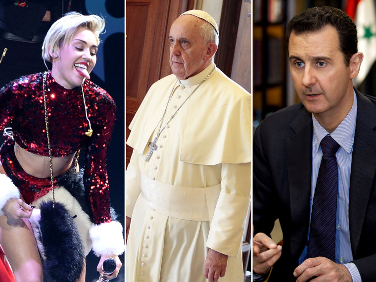 Miley Cyrus, Pope Francis and Syrian President Bashar al-Assad are all on Time magazine's short list for Person of the Year.