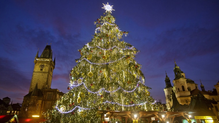 PRAGUE, CZECH REPUBLIC - DECEMBER 02:  A christmas tree stands at the Christmas market at the Old Town Square on December 2, 2013 in Prague, Czech Rep...