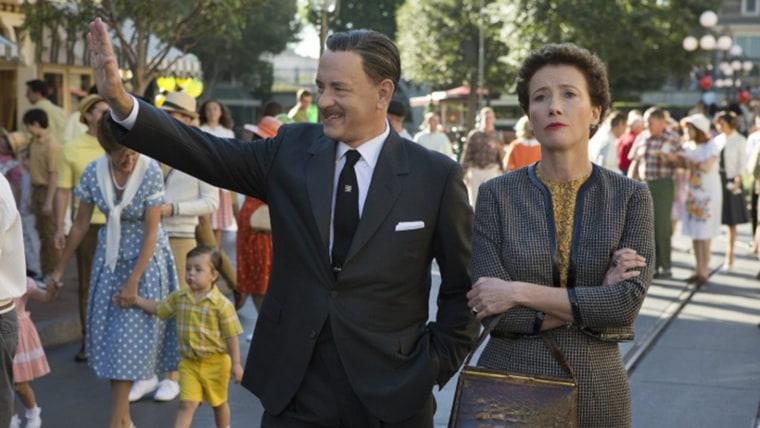 "IMAGE: Saving Mr. Banks  SMB_05582FD Walt Disney (Tom Hanks) showsDisneyland to ""Mary Poppins"" author P.L. Travers (Emma Thompson) in Disney's ""Saving Mr..."