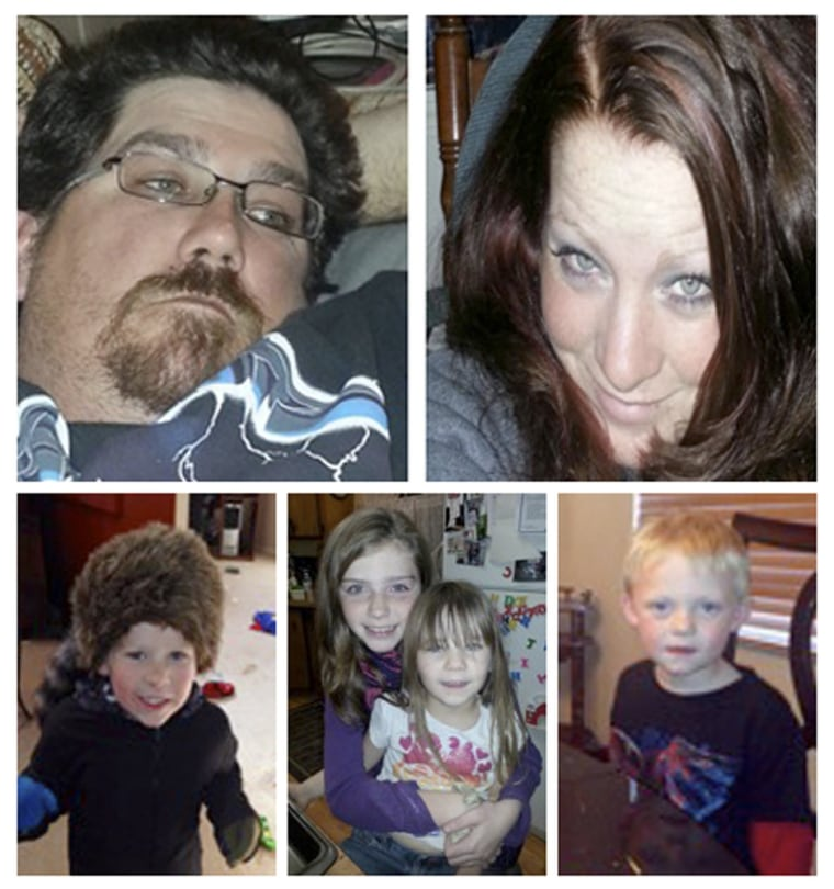 A combination photo shows (clockwise from top left) James Glanton, 34, Christina McIntee, 25, Tate McIntee, Chloe Glanton, Shelby Fitzpatrick and Evan...