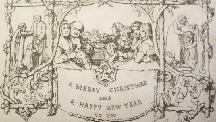 A Christmas card from 1843 that is considered part of a set of the world's first Christmas cards was bought for $6,846 at a British auction house on Saturday.