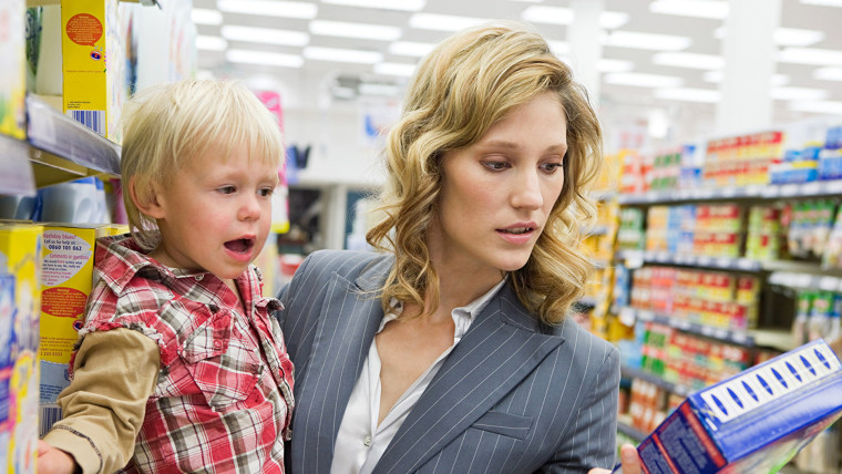 Woman and child in supermarket working mother Getty Images stock msnbc.com
