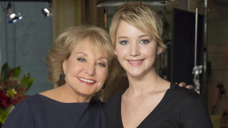 Barbara Walters and Jennifer Lawrence.