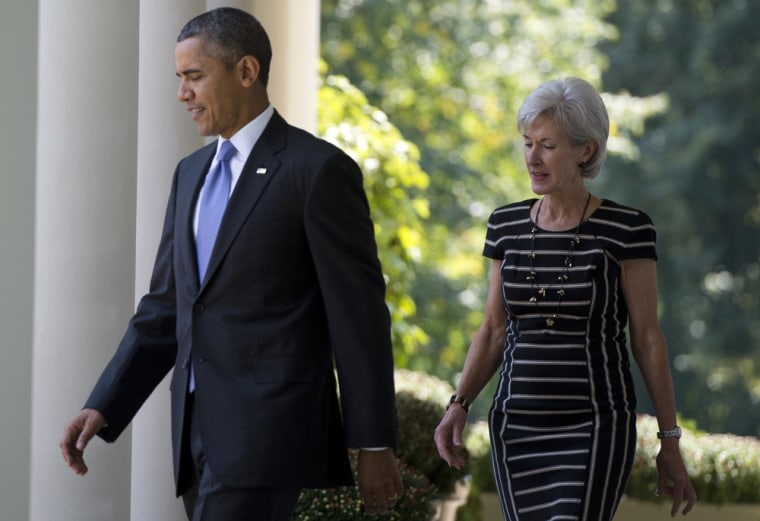 President Barack Obama walks alongside Secretary of Health and Human Services Kathleen Sebelius on Oct. 1, 2013, before speaking about the Affordable Care Act at the White House in Washington, D.C.