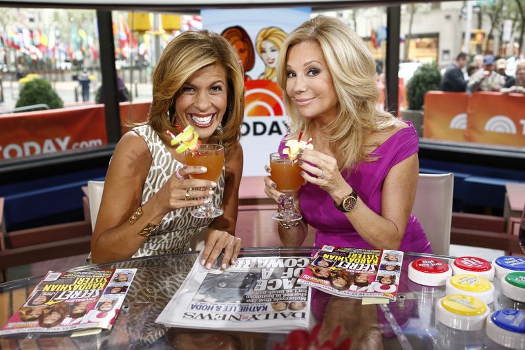 """TODAY -- Pictured: (l-r) Hoda Kotb and Kathie Lee Gifford appear on NBC News' \""""Today\"""" show -- (Photo by: Peter Kramer/NBC/NBC NewsWire)"""