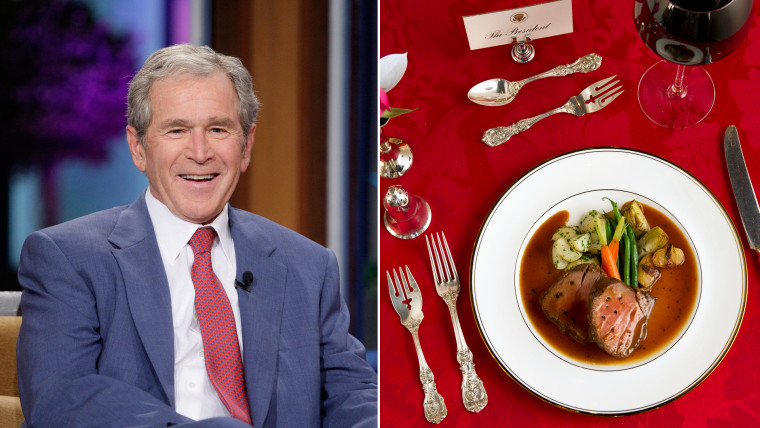 THE TONIGHT SHOW WITH JAY LENO -- Episode 4570 -- Pictured: Former President George W. Bush during an interview on November 19, 2013 -- (Photo by: Sta...
