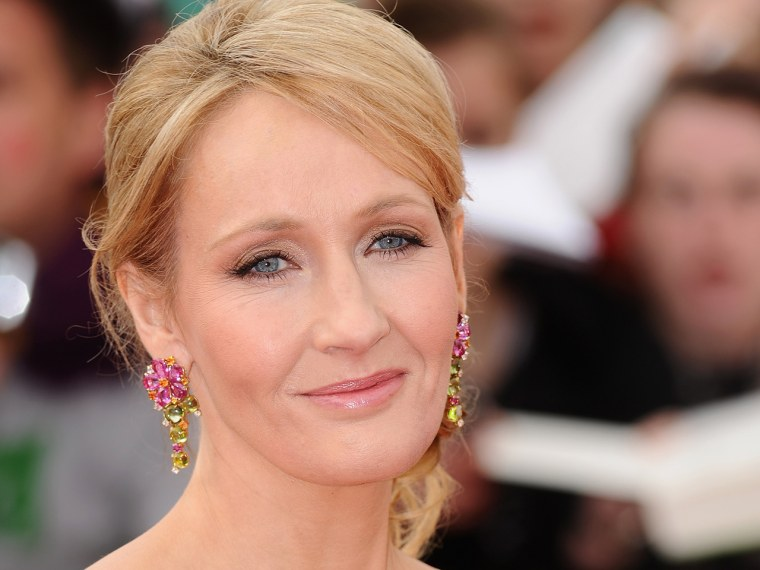 LONDON, ENGLAND - JULY 07:  Author JK Rowling attends the World Premiere of Harry Potter and The Deathly Hallows - Part 2 at Trafalgar Square on July ...