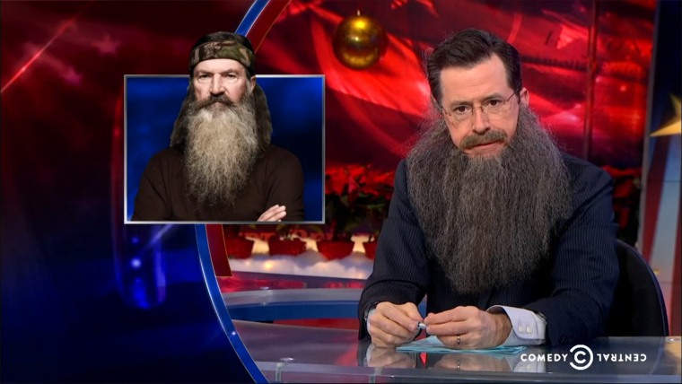 """Stephen Colbert supports Phil Robertson on """"The Colbert Report."""""""