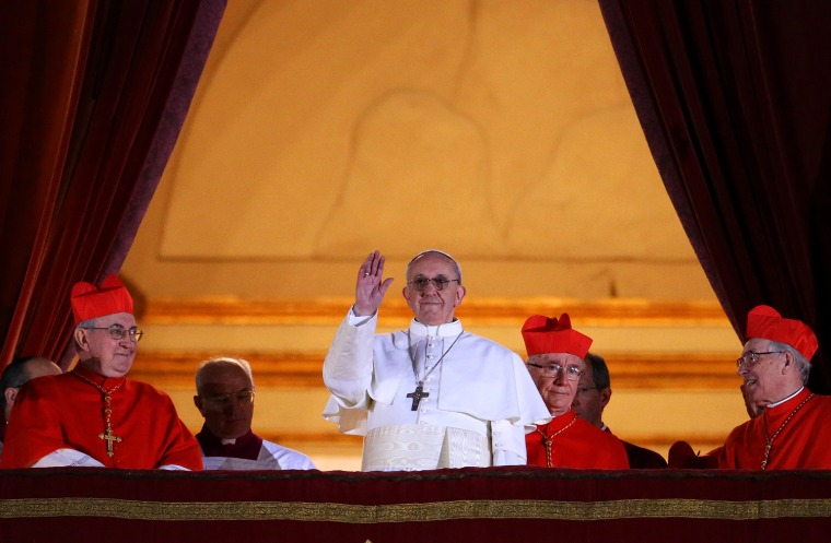 Newly elected Pope Francis appears on the central balcony of St. Peter's Basilica on March 13, 2013, in Vatican City. Argentinian Cardinal Jorge Mario Bergoglio was elected as the 266th Pontiff and will lead the world's 1.2 billion Catholics.