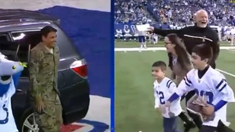 Surprise military family reunion