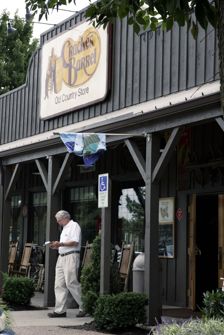 A Cracker Barrel restaurant is in Nashville, Tenn.